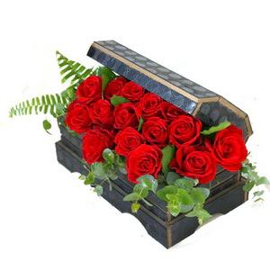 Sandik içerisinde 21 adet kirmizi gül  Eryaman çiçekçi telefonları eryaman çiçek