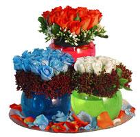 Eryaman çiçek satışı anneler günü çiçek yolla  3 cam vazoda 3 renkli gül görselligi
