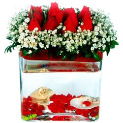 Eryaman çiçek gönder çiçek servisi , çiçekçi adresleri  12 adet kirmizi gül cam yada mika vazoda