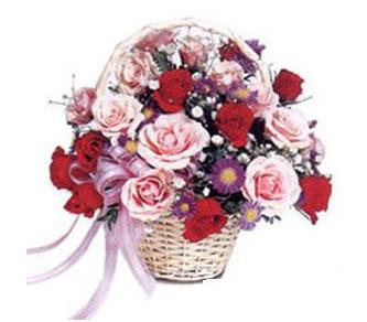 Eryaman çiçek siparişi hediye çiçek yolla  Karisik gül sepeti 13 adet gül güller