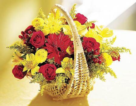 Eryaman çiçekçi  çiçek , çiçekçi , çiçekçilik  Sepet içerisinde mevsim çiçekleri