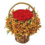 Çiçekçi Eryaman cicekciler , cicek siparisi  Sepet içerisinde 9 adet kirmizi gül ve kir çiçegi
