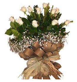Eryaman çiçek güvenli kaliteli hızlı çiçek  9 adet beyaz gül buketi