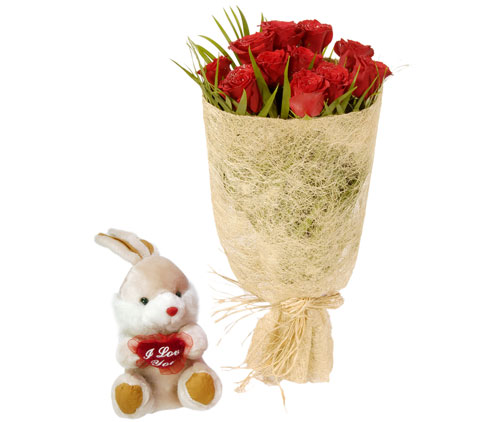 10 adet kirmizi gül ve küçük pelus oyuncak  Eryaman çiçek satışı anneler günü çiçek yolla