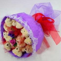 11 adet ayiciktan buket  Eryaman Ankara ucuz çiçek gönder