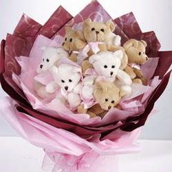 9 adet ayiciktan buket  Eryaman Ankara ucuz çiçek gönder