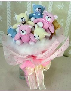 11 adet rengarenk pelus ayicik demeti  Eryaman ankaradaki internetten çiçek siparişi