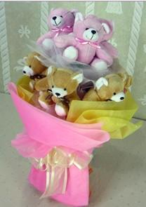 11 adet renkli pelus ayicik buketi  Eryaman Ankara ucuz çiçek gönder