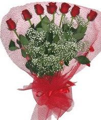 7 adet kipkirmizi gülden görsel buket  Eryaman çiçekçi ankaraya çiçek yolla çiçekçiler