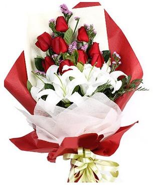 Eryaman çiçek siparişi hediye çiçek yolla  1 dal kazablankaa 9 adet kırmızı gül buketi