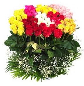 Eryaman çiçekçi ankaraya çiçek yolla çiçekçiler  51 adet renkli güllerden aranjman tanzimi