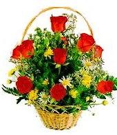 9 adet gül ve sepette kır çiçekleri  Eryaman çiçekçi  çiçek , çiçekçi , çiçekçilik