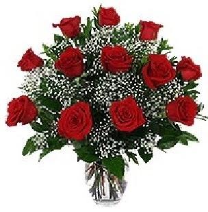 Ankara Eryaman çiçek satışı çiçek siparişi  12 adet kırmızı gülden vazo tanzimi