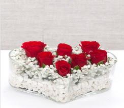kalp içerisinde 7 adet kırmızı gül  ankara çiçekçi Eryaman çiçekçi mağazası
