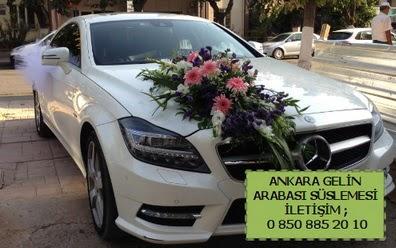 Ankara gelin araba süsü süslemesi  Eryaman çiçekçi ankaraya çiçek yolla çiçekçiler