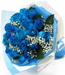 15 adet mavi gülden şahane eşsiz buket  Ankara Eryaman hediye sevgilime hediye çiçek