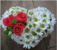 3 adet kırmızı gül mika kalptte papatyalar  Eryaman çiçekçi  çiçek , çiçekçi , çiçekçilik