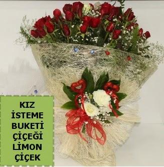 27 adet kırmızı gülden kız isteme buketi  Eryaman çiçek gönderme sitemiz güvenlidir