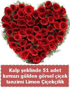 51 kırmızı gülden kalp şeklinde çiçek tanzim  Eryaman çiçek gönderme sitemiz güvenlidir