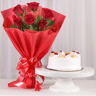 6 Kırmızı gül ve 4 kişilik yaş pasta  Eryaman İnternetten çiçek siparişi
