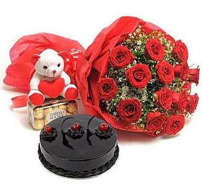 12 kırmızı gül ayıcık çikolata ve yaş pasta  Eryamandaki çiçekçiler kaliteli taze ve ucuz çiçekler