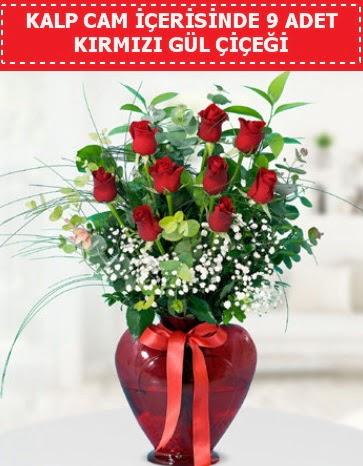 Kırmızı kalp camda 9 kırmızı gül  Eryaman çiçek gönderme sitemiz güvenlidir